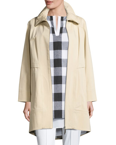 Ruched-Collar Trench Jacket, Petite