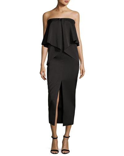 Dicentra Satin Popover Gown, Black