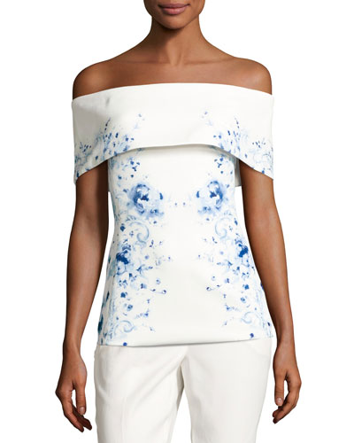 Mayflower Off-the-Shoulder Floral Ponte Top, White