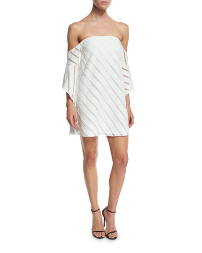 Statice Off-the-Shoulder Striped Mini Dress, White