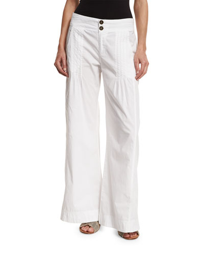 Pleated Stretch-Poplin Wide-Leg Pants, White, Plus Size