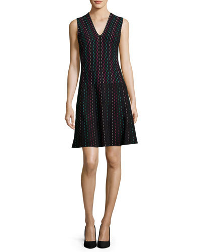sleeveless striped fit-and-flare sweaterdress, black/multicolor