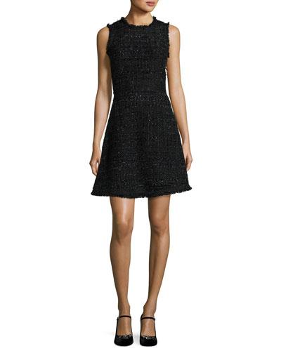 sleeveless shimmer tweed a-line dress, black