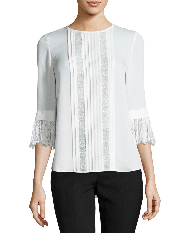 3/4-sleeve pintucked silk chiffon blouse, cream