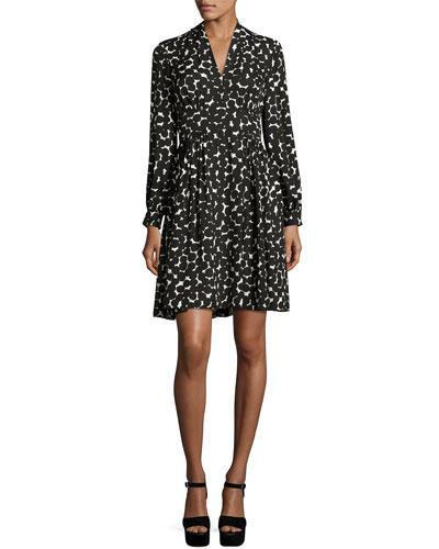 long-sleeve silk chiffon ink-blot dress, black
