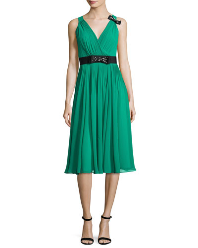 sleeveless shirred silk chiffon midi dress, emerald ring