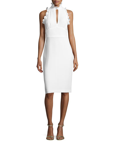 Sleeveless Crepe Mock-Neck Cocktail Dress, Ivory