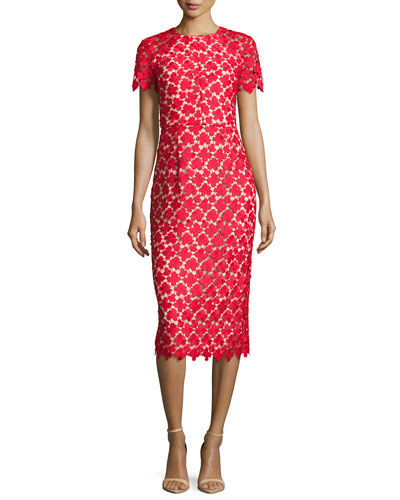 Short-Sleeve Leaf Lace Cocktail Dress, Red