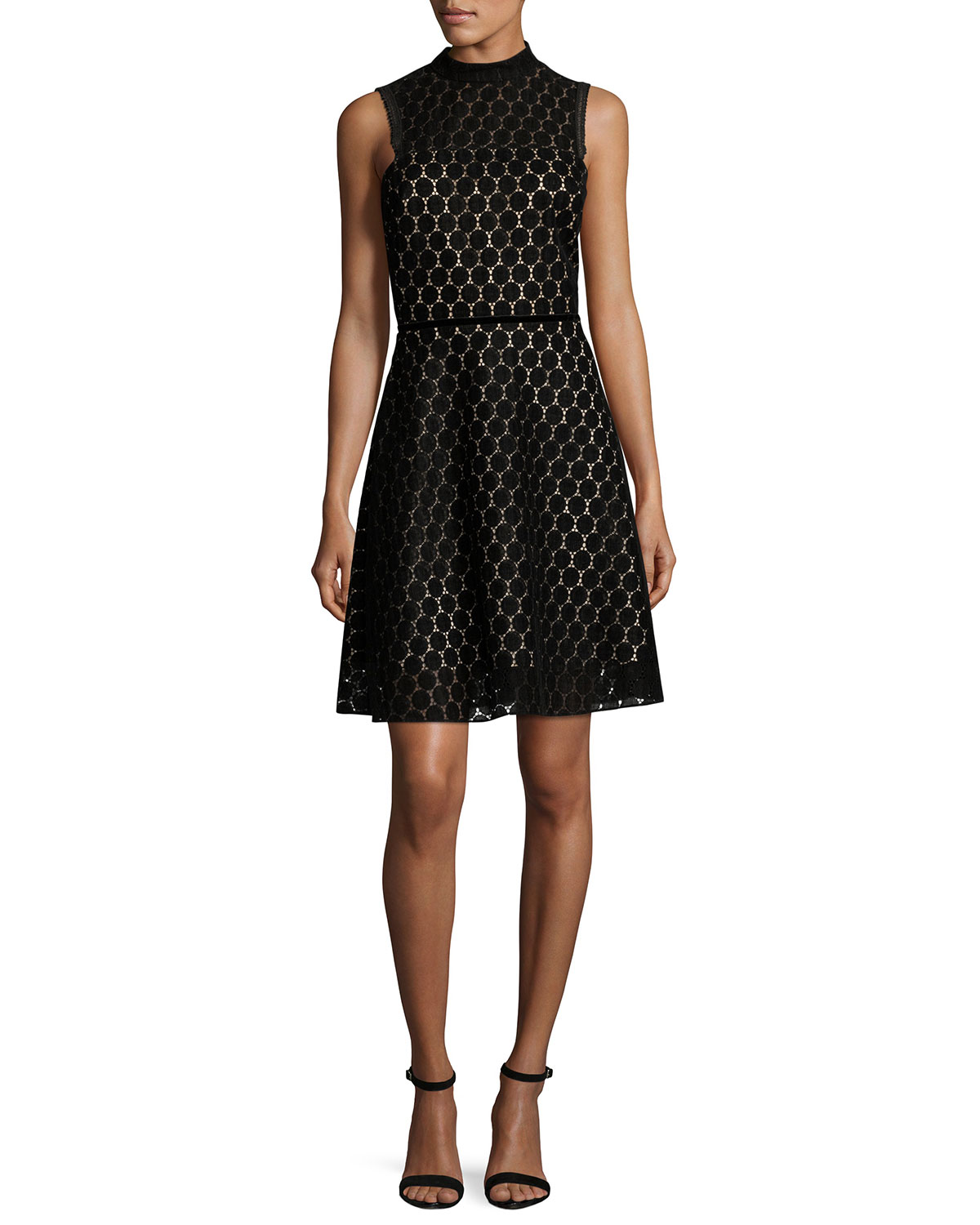 Sleeveless Velvet Polka-Dot Cocktail Dress, Black