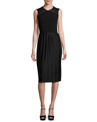 Sleeveless Pleated Cocktail Dress, Black