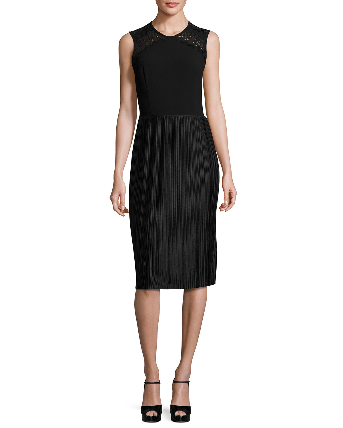 Sleeveless Pleated Cocktail Dress, Black