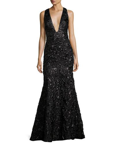 Penelope Rosette Jacquard Mermaid Gown, Black