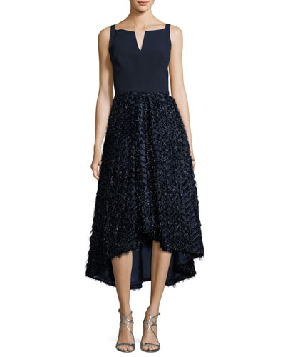 Adalyn Sleeveless Mixed-Media Cocktail Dress, Navy