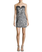 Carly Sweetheart Sequin Cocktail Dress, Silver