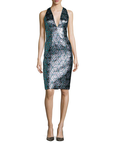 Callie Sleeveless Jacquard Cocktail Dress, Multicolor