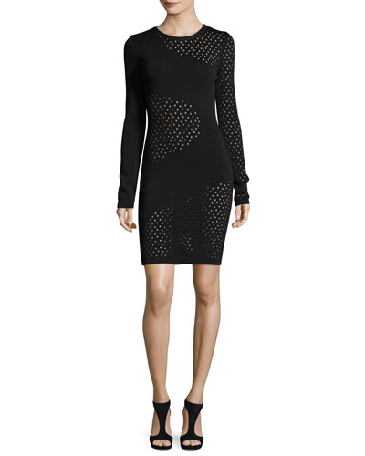 Long-Sleeve Mesh-Inset Dress