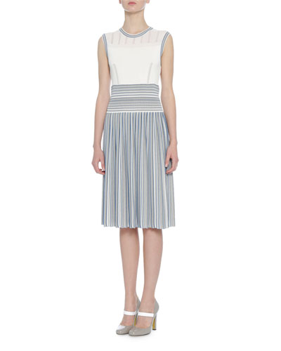 Sleeveless Striped Knit Dress, Blue/White