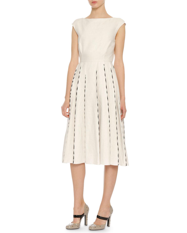 Bottega Veneta Linens CAP-SLEEVE EMBROIDERED LINEN DRESS, MIST/BLACK