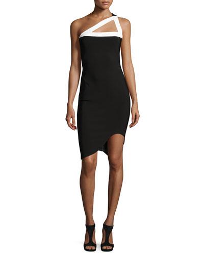 One-Shoulder Asymmetric-Hem Dress, Black/White