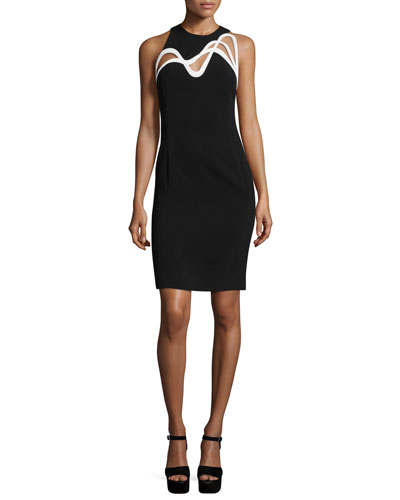 Swirl-Cutout Sleeveless Dress, Black/White