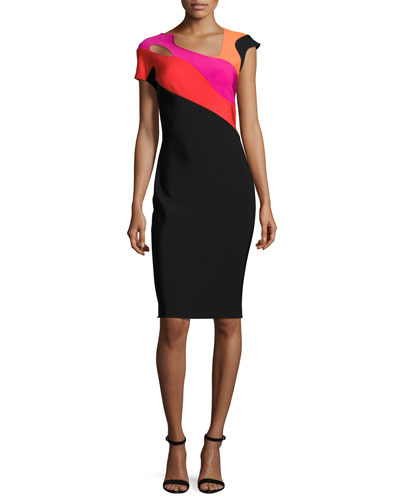 Short-Sleeve Cutout Colorblock Sheath Dress, Black/Rainbow