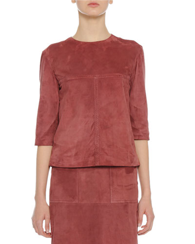 Bottega Veneta Suede Half Sleeve Top Dusty Rose | Clothing
