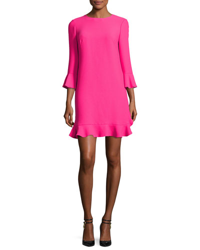 3/4-sleeve crepe flounce dress, pink