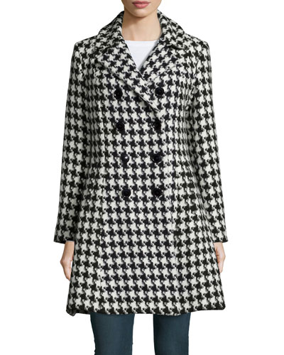 Houndstooth Double-Breasted Princess Coat
