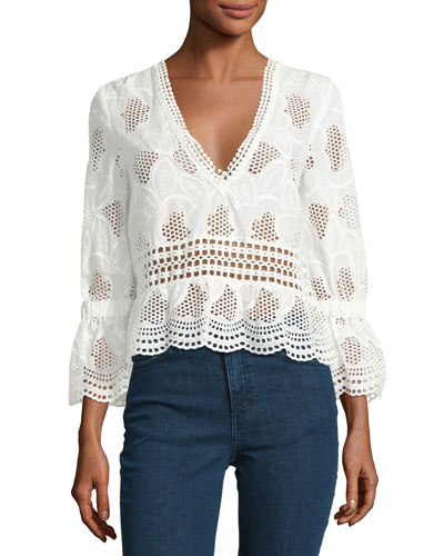 Pollen Lace V-Neck Top, Ivory