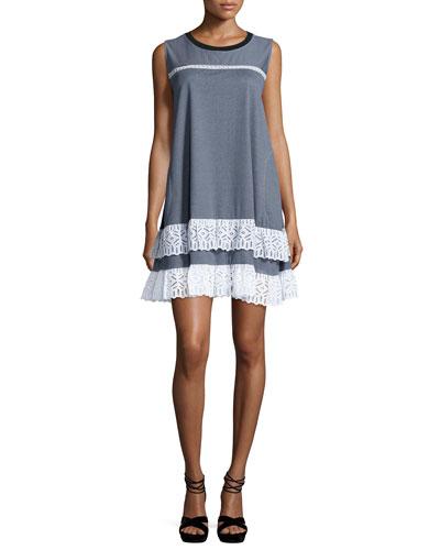 Striped Sleeveless Jersey Dress w/Lace Trim