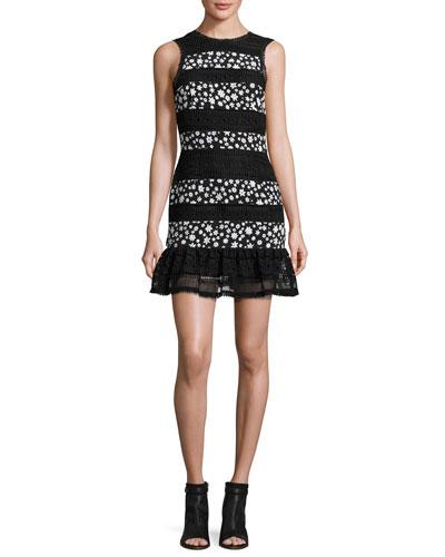 Daisy Paneled Lace Flounce-Hem Dress, Black/White