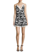 Eden Sleeveless Embroidered Floral Romper, Black/White