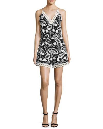 Eden Sleeveless Embroidered Floral Romper, Black/White