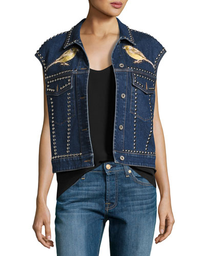 Embroidered Bird & Floral Studded Denim Vest, Blue