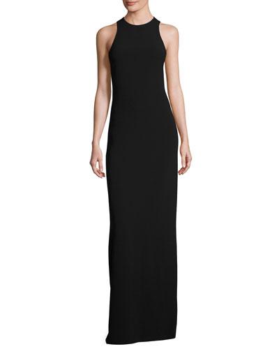 Kaye Crisscross-Back Sleeveless Gown, Black