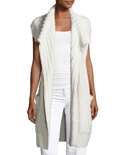 Dickens Open Cap-Sleeve Cardigan, Neutral