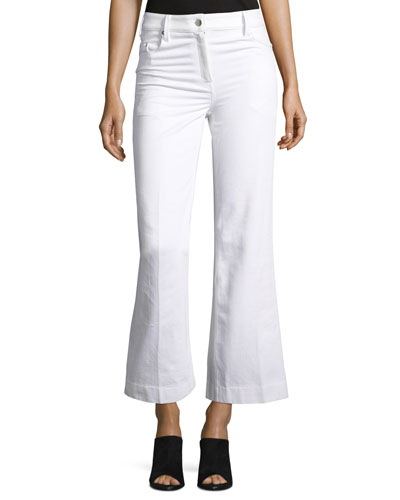 Fray Bis Flared Cropped Jeans, White