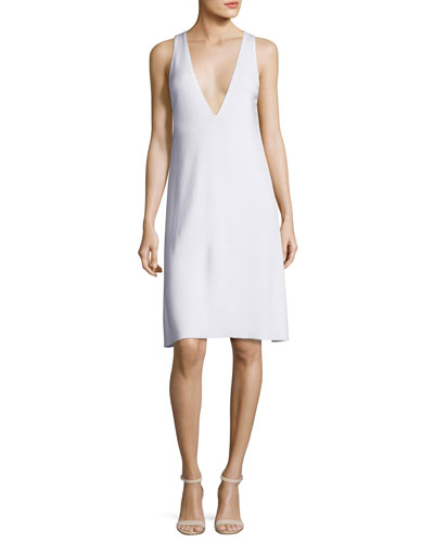 Dolby Sleeveless V-Neck Dress, White