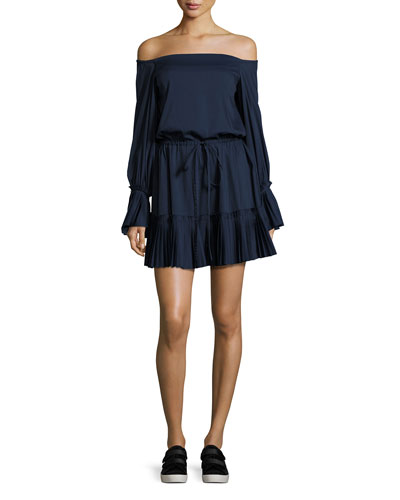 Rylan Pleated Off-the-Shoulder Dress, Navy Blue