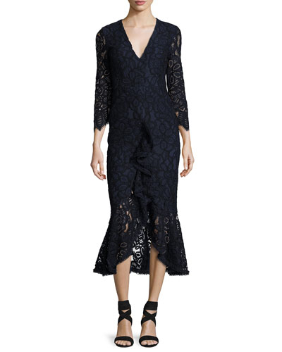 Nadege Lace 3/4-Sleeve V-Neck Midi Dress, Navy