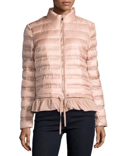 Anemone Flounce Puffer Jacket, Pink