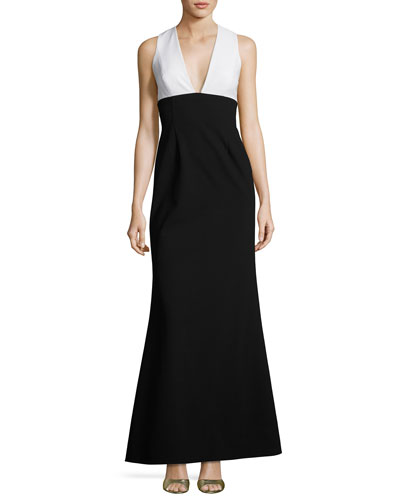 Sleeveless Two-Tone Crepe Gown, White/Black
