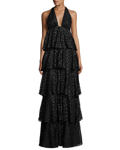 Tiered Silk Metallic Polka-Dot Halter Gown, Black