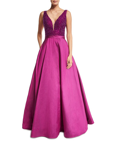 Sleeveless Embellished Silk Taffeta Ball Gown, Magenta