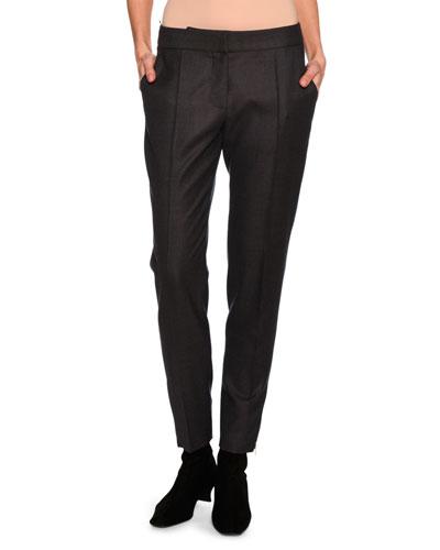 Vivan Skinny Wool Zip-Cuff Pants