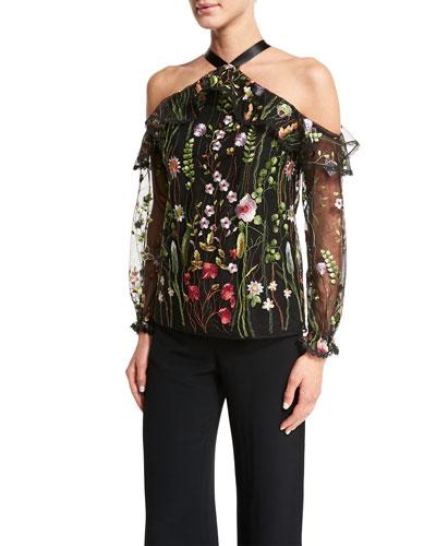 Kylie Embroidered Garden Top, Black