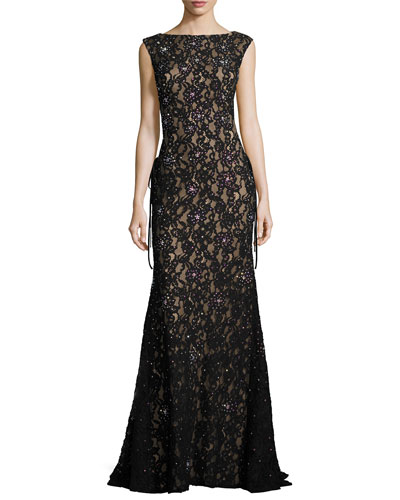 Sleeveless Embroidered Sequin Mermaid Gown, Black