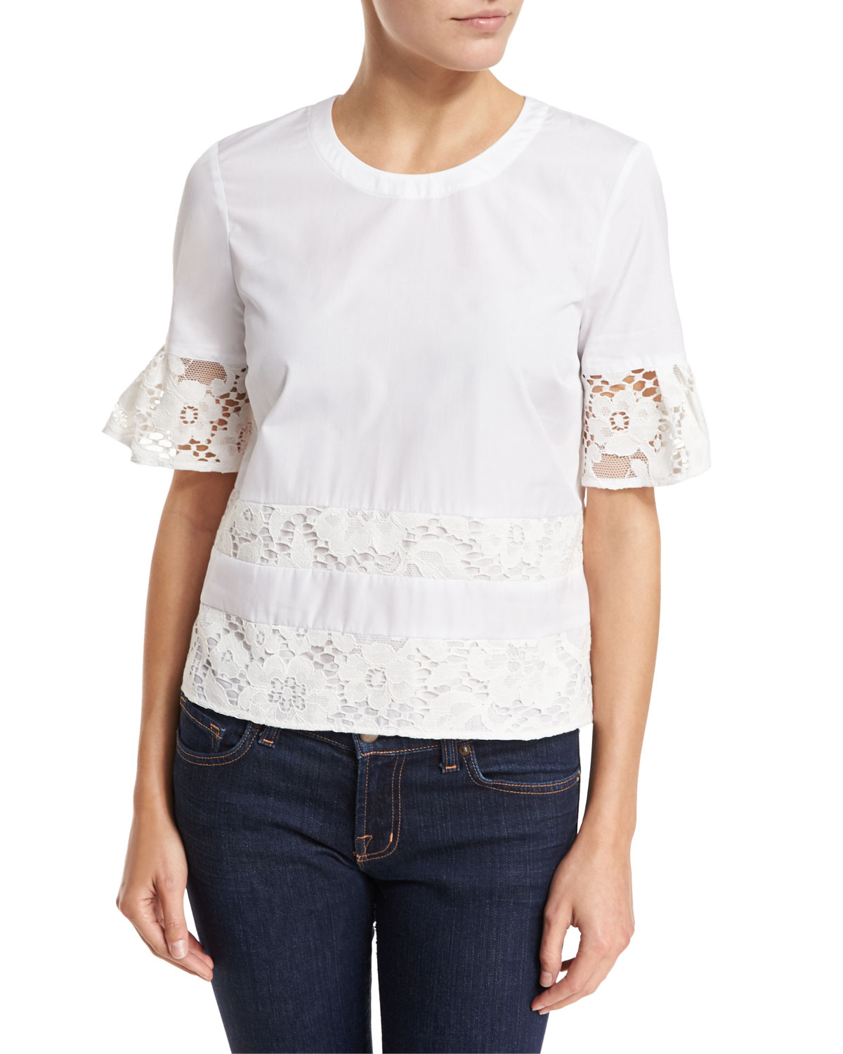 Lace-Trim Half-Sleeve Poplin Top, White