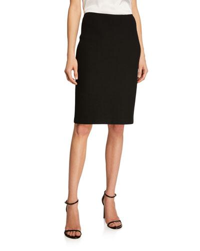 Micro Boucle Knit Pencil Skirt, Black