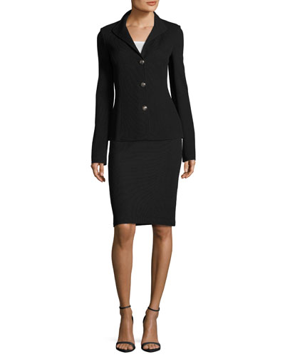 Milano Pique Knit 3-Button Jacket, Black